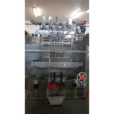 Used STE sticks bagging machine 5 tracks second-hand cosmetic and pharmaceutical equipment - front view
