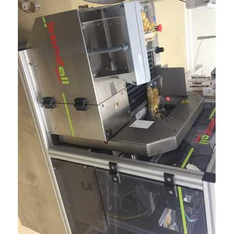Used Bandall banding machine model TXL24 second-hand cosmetic and pharmaceutical industrial equipment threequarter view