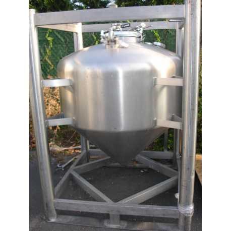 Cuve de stockage en INOX - Capacité 500L - gerbable - Matériel industriel d'occasion - Vue de face