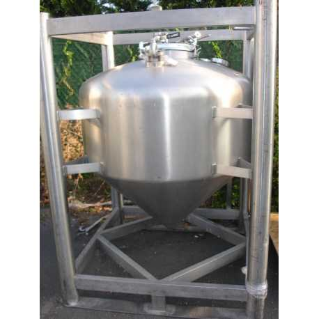 Used stackable stainless steel tank capacity 500L second-hand cosmetic and pharmaceutical industrial equipment front view